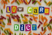 Inscription Low Carb Diet From Multicolored Letters Showing Eating Healthy Concept.  A Word Writing  poster