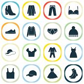 Garment Icons Set With Gumshoes, Sundress, Baseball Cap And Other Beanie Elements. Isolated Vector I poster