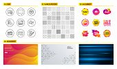 Seamless Pattern. Shopping Mall Banners. Set Of Blog, Survey Results And Mobile Survey Icons. Techni poster