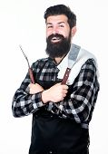 Ideal Professional Tool Set. Happy Hipster Holding Stainless Steel Tools. Bearded Man With Barbecue  poster
