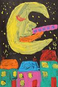 Childrens Drawing Of Moon On Dark Sky Over City Houses poster