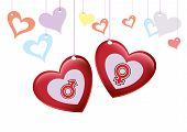 Love Happy Valentine with Gender Icon Background Illustration in Vector