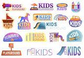 Kid Playground Outside Logo Set. Cartoon Set Of Kid Playground Outside Vector Logo For Web Design poster