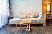 White Stylish Minimalist Room With Sofa. Parquet Wood Interior Design poster