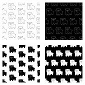 Cute Cartoon Hand Drawn Bear Pattern Collection. Sweet Vector Black And White Bear Pattern Collectio poster