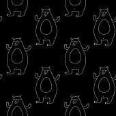 Cute Cartoon Animal Pattern With Hand Drawn Bears. Sweet Vector Black And White Animal Pattern. Seam poster