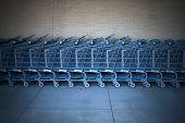 Shopping Cart Row Outside Super Market