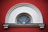 Arc Attic Vintage Window On Red Stucco Wall ;
