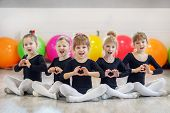 A Group Of Children In Dance Classes. The Concept Of Sport, Education, Childhood, Hobbies And Dance poster