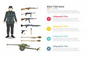 Soldier Ww2 Army Uniform And Millitary Weapon Infographics Template With 4 Points Of Free Space Text poster