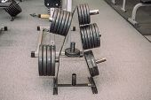 Gym Equipment. Weights, Dumbbells. Gym. Weightlifting. Inventory In The Hall. poster