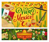 Mexican Holiday Sombrero, Guitar And Cactus Vector Design Of Cinco De Mayo Fiesta Party Greeting Car poster