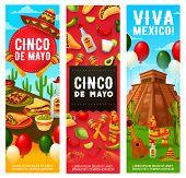 Cinco De Mayo Mexican Holiday Fiesta, Viva Mexico Party Banners With Balloons. Vector Cinco De Mayo  poster