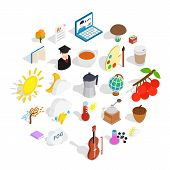Academic Year Icons Set. Isometric Set Of 25 Academic Year Vector Icons For Web Isolated On White Ba poster