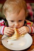Baby Eats The Delicious Pancakes