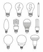 11 Line Art Black And White Light Bulb Set. Incandescent, Fluorescent, Halogen Lamp And Neon Tube. E poster