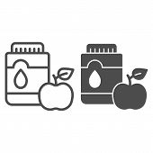 Mouthwash With Apple Line And Glyph Icon. Mouth Antiseptic Vector Illustration Isolated On White. De poster