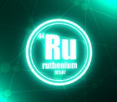 Ruthenium Chemical Element. Sign With Atomic Number And Atomic Weight. Chemical Element Of Periodic  poster