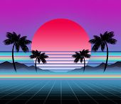 Glowing Neon, Synthwave And Retrowave Background Template. Retro Video Games, Futuristic Design, Rav poster