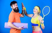 Fitness Exercises. Workout And Fitness. Girl And Guy Live Healthy Life. Fitness Exercises. Sporty Co poster