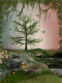stock photo of fairy-tale  - Fantasy Landscape with hummingbird mushroom and dragonfly - JPG