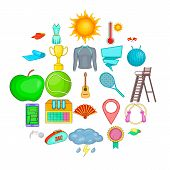 Sport Adventure Icons Set. Cartoon Set Of 25 Sport Adventure Icons For Web Isolated On White Backgro poster