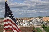 American USA Flag Waiving After Tornado In Joplin, Missouri