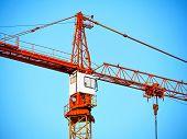 Close-up Of A Construction Crane. Crane. Self-erection Crane. Construction Site. poster