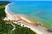 Aerial View Of Cumuruxatiba Beach, Prado, Bahia, Brazil. Great Landscape. Tropical Travel. Travel De poster