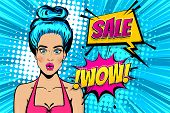 Beautiful Blue Hair Pop Art Girl Surprised Face. Comic Text Wow. Bright Fashionable Vector Illustrat poster