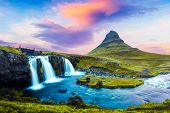 Picturesque landscape with famous Kirkjufell mountain and Kirkjufellsfoss waterfall in eastern Icela poster