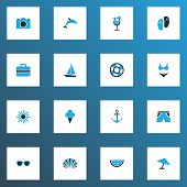 Season Icons Colored Set With Beach Sandals, Lemonade, Ship Shell Elements. Isolated  Illustration S poster