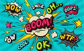 Boom Pop Art Cloud Bubble. Funny Speech Bubble. Trendy Colorful Retro Oh, Cool, Pow, Smile, Wow, Boo poster