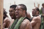 Maori Warrior Looking Scary At A Haka