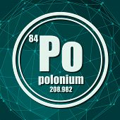 Polonium Chemical Element. Sign With Atomic Number And Atomic Weight. Chemical Element Of Periodic T poster