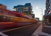 Blurred Motion Of Newly Installed Light Rail In Newcastle Cbd Australia. The Cbd Area Of Newcastle I poster