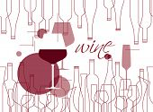 Background In Modern Style With Wine Bottles And Wine Glasses. Design Element For Tasting, Menu, Win poster
