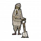 cartoon man with long mustache digging