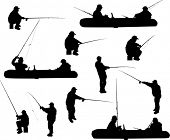 illustration with fishermen silhouettes isolated on white