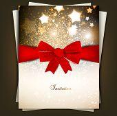Tarjeta de felicitación con arco rojo, espacio de copia. Ilustración de Vector