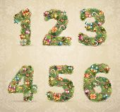 Christmas tree font with baubles - vintage style. Vector illustration.