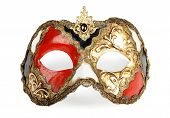 stock photo of mardi gras mask  - Decorative venetian carnival mask isolated on white background - JPG