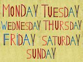 Earthy background and design element depicting the days of the week
