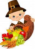 Little pilgrim with horn of plenty