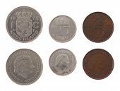 Old Dutch guilder coins depicting Queen Juliana of the Netherlands. Obverse and reverse isolated on white.
