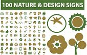 100 nature & design signs, icons set, vector