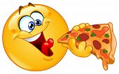 image of starving  - Emoticon eating pizza - JPG
