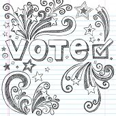 Vote Presidential Election Back to School Style Sketchy Notebook Doodles with Stars and Swirls- Hand