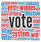 Vote in presidential elections concept in word tag cloud on white background