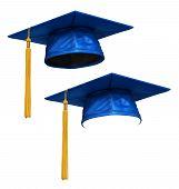 3D Render Of Blue Graduation Cap